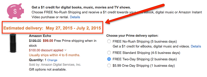 Amazon Echo Delivery