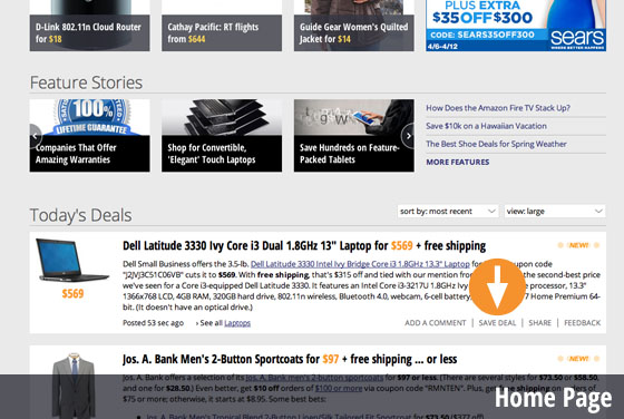 Desktop Web Homepage Save Deal