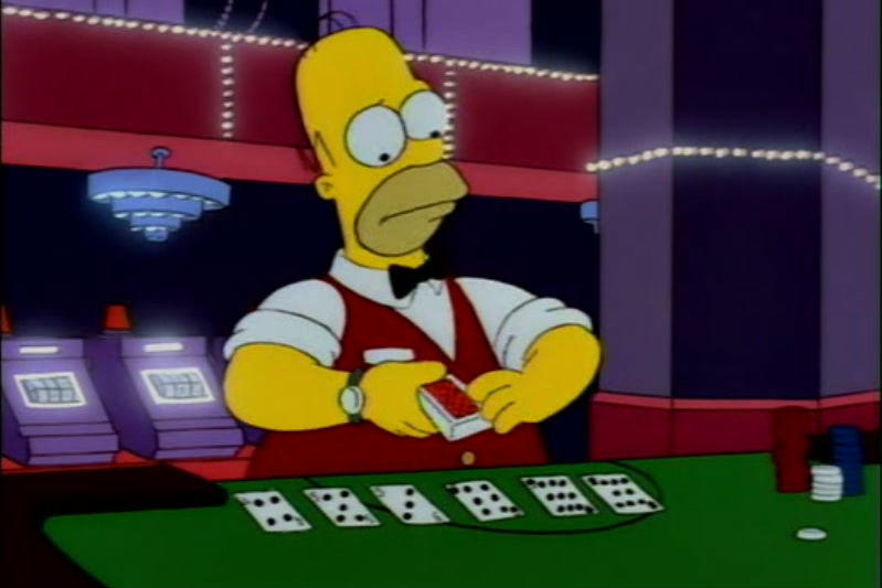 Homer Simpson dealing blackjack