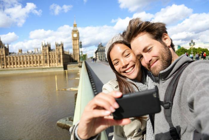 Couple takes London selfie