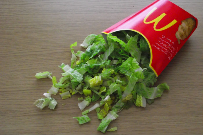 Lettuce in McDonald's container