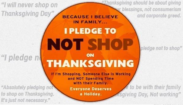 Thanksgiving shopping pledge