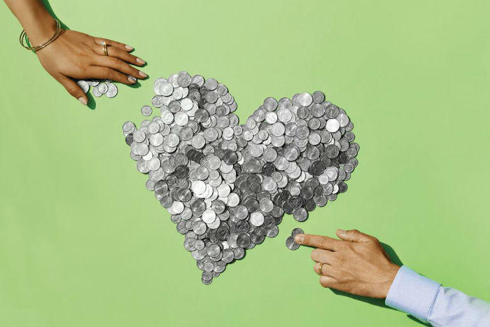 coins in heart shape