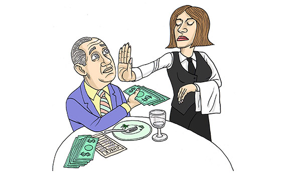 waitress refusing tip