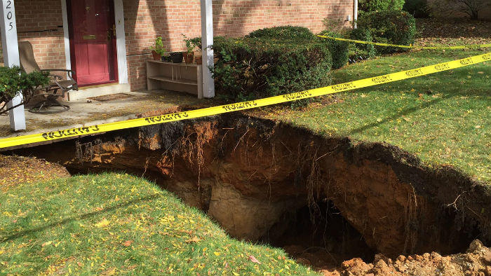 house with sinkhole