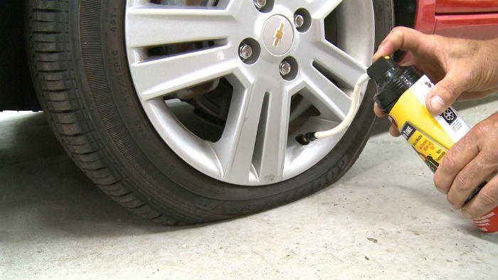 fixing flat with tire sealant