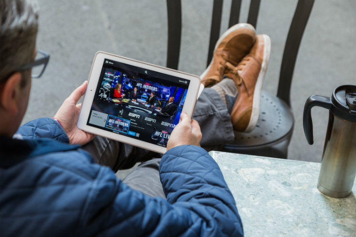 watching TV on tablet