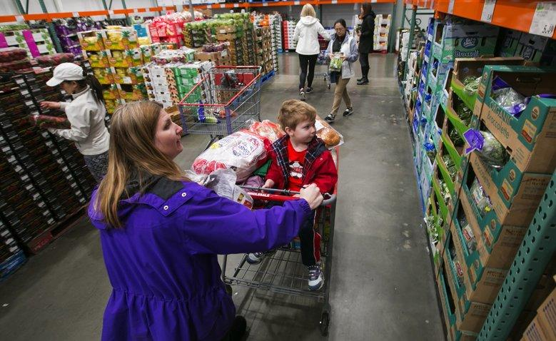 woman and child at Costco